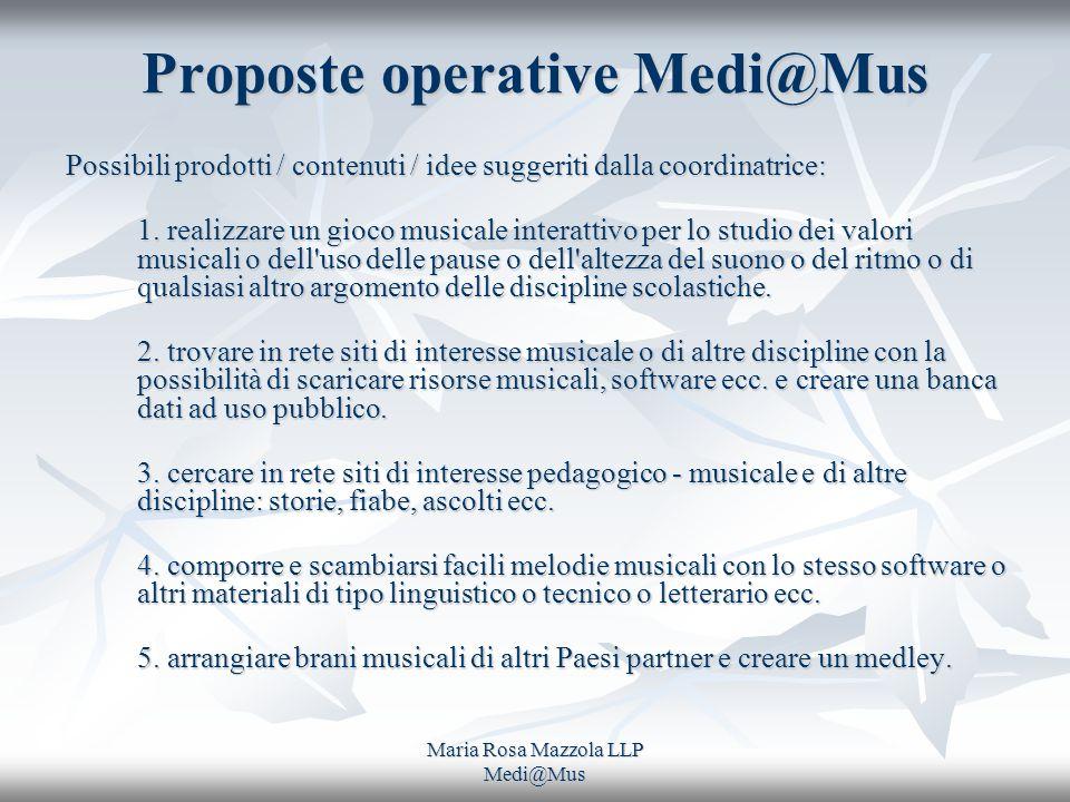 Maria Rosa Mazzola LLP Medi@Mus Proposte operative Medi@Mus Possibili prodotti / contenuti / idee suggeriti dalla coordinatrice: Possibili prodotti /