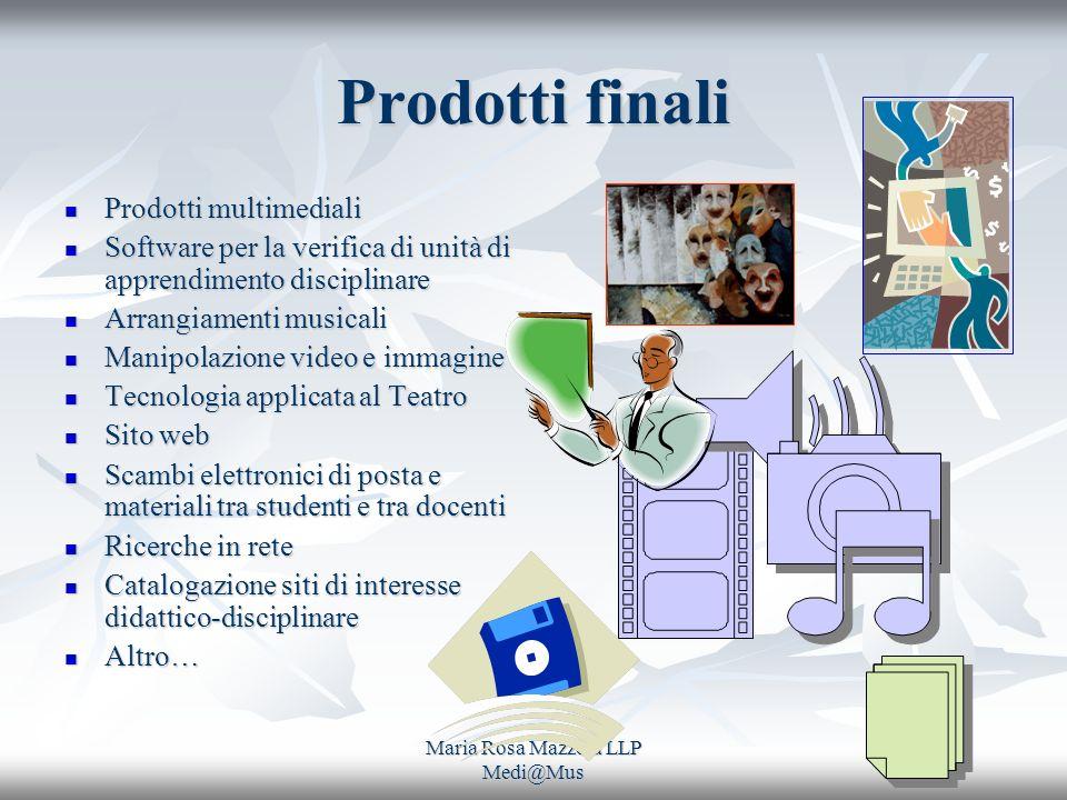 Maria Rosa Mazzola LLP Medi@Mus Prodotti finali Prodotti multimediali Prodotti multimediali Software per la verifica di unità di apprendimento discipl