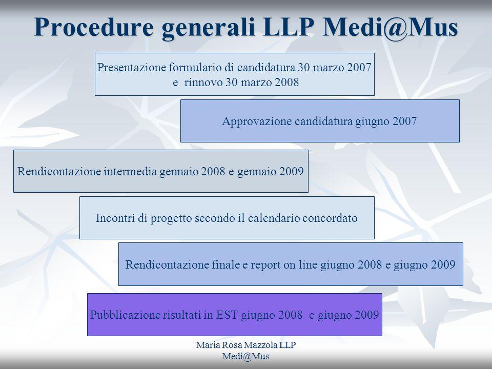 Maria Rosa Mazzola LLP Medi@Mus Procedure generali LLP Medi@Mus Presentazione formulario di candidatura 30 marzo 2007 e rinnovo 30 marzo 2008 Approvaz
