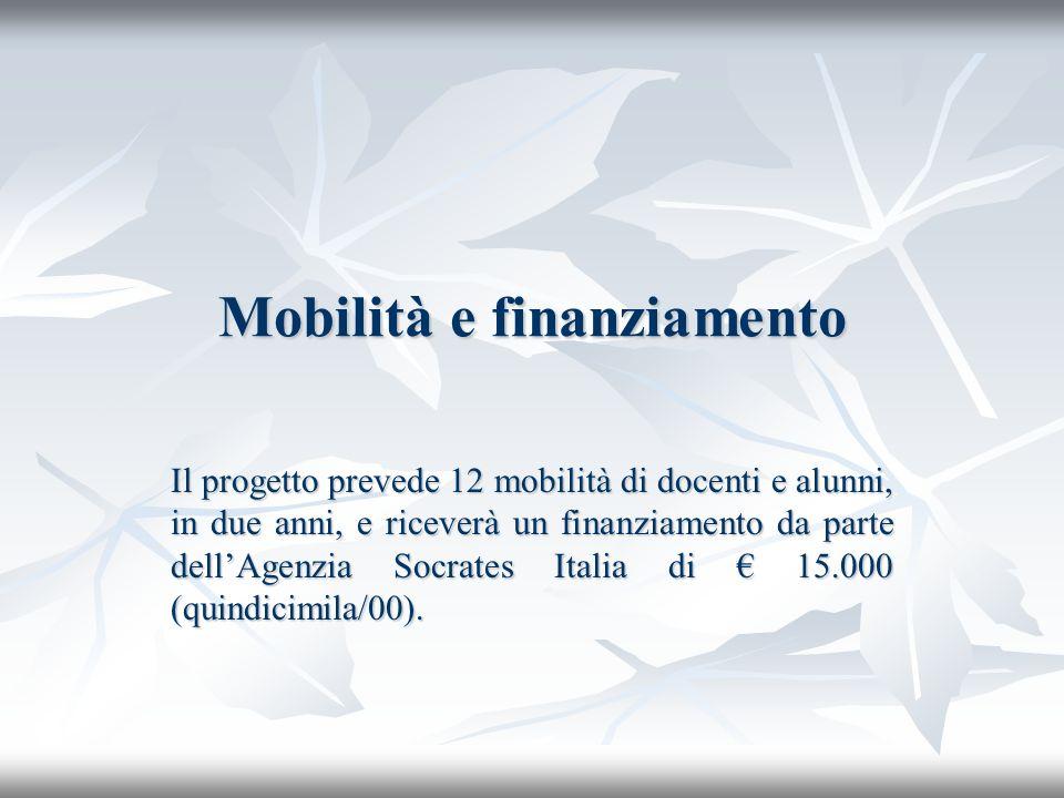 Mobilità e finanziamento Il progetto prevede 12 mobilità di docenti e alunni, in due anni, e riceverà un finanziamento da parte dellAgenzia Socrates Italia di 15.000 (quindicimila/00).