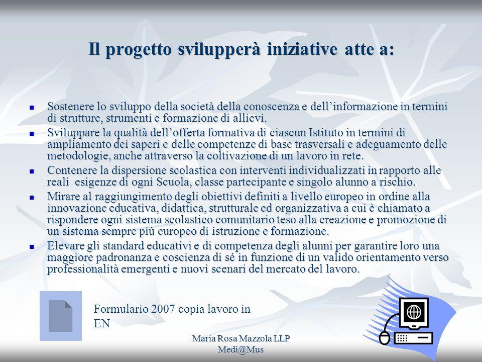 Maria Rosa Mazzola LLP Medi@Mus Il progetto svilupperà iniziative atte a: Sostenere lo sviluppo della società della conoscenza e dellinformazione in termini di strutture, strumenti e formazione di allievi.