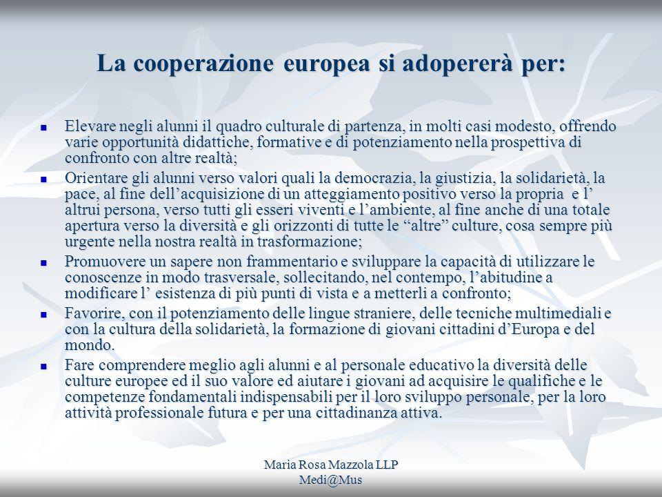 Maria Rosa Mazzola LLP Medi@Mus La cooperazione europea si adopererà per: Elevare negli alunni il quadro culturale di partenza, in molti casi modesto,