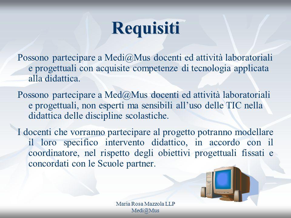 Maria Rosa Mazzola LLP Medi@Mus Requisiti Possono partecipare a Medi@Mus docenti ed attività laboratoriali e progettuali con acquisite competenze di tecnologia applicata alla didattica.