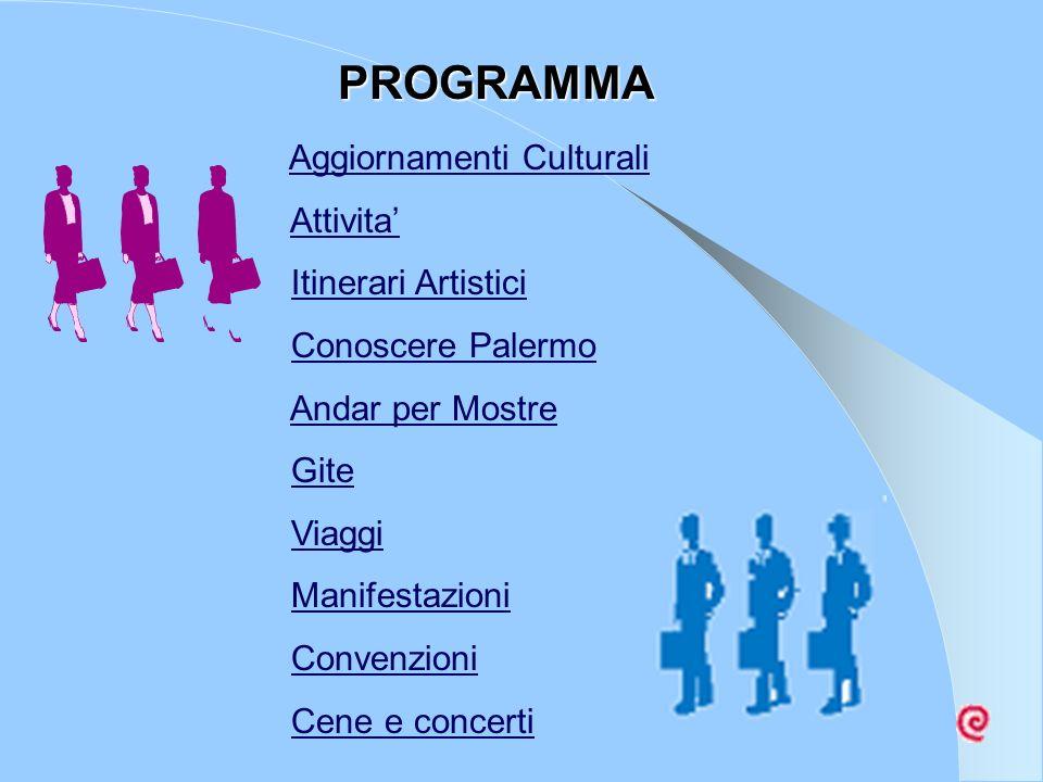 Aggiornamenti Culturali Attivita Itinerari Artistici Conoscere Palermo Andar per Mostre Gite Viaggi Manifestazioni Convenzioni Cene e concerti PROGRAM