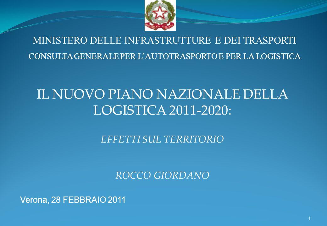 1 Verona, 28 FEBBRAIO 2011 IL NUOVO PIANO NAZIONALE DELLA LOGISTICA 2011-2020: EFFETTI SUL TERRITORIO ROCCO GIORDANO MINISTERO DELLE INFRASTRUTTURE E