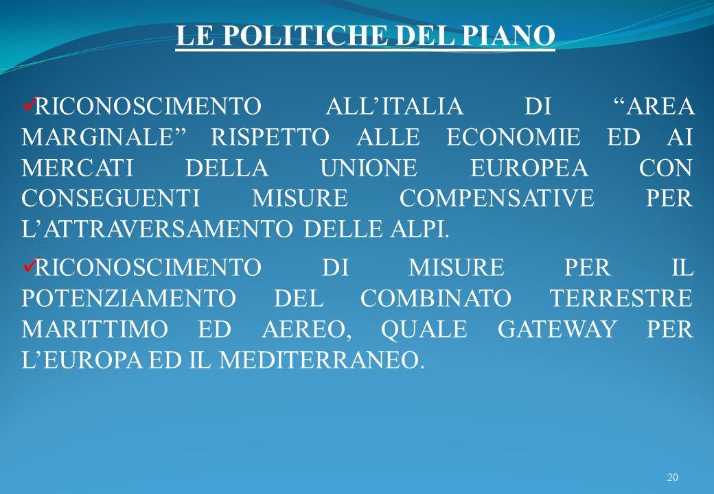 20 LE POLITICHE DEL PIANO RICONOSCIMENTO ALLITALIA DI AREA MARGINALE RISPETTO ALLE ECONOMIE ED AI MERCATI DELLA UNIONE EUROPEA CON CONSEGUENTI MISURE