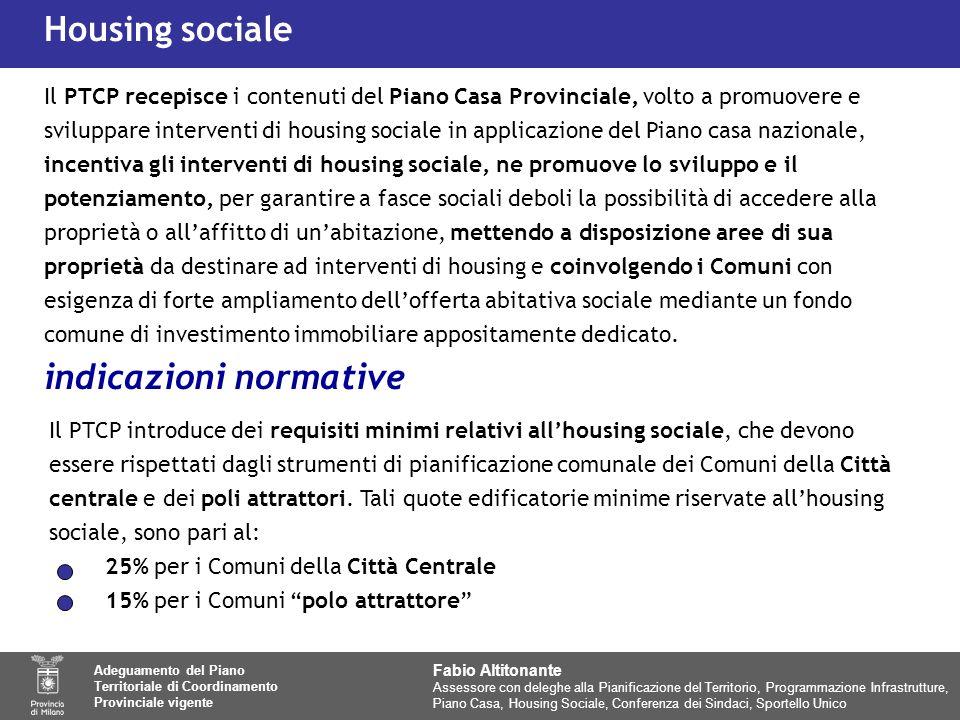 Il PTCP introduce dei requisiti minimi relativi allhousing sociale, che devono essere rispettati dagli strumenti di pianificazione comunale dei Comuni della Città centrale e dei poli attrattori.