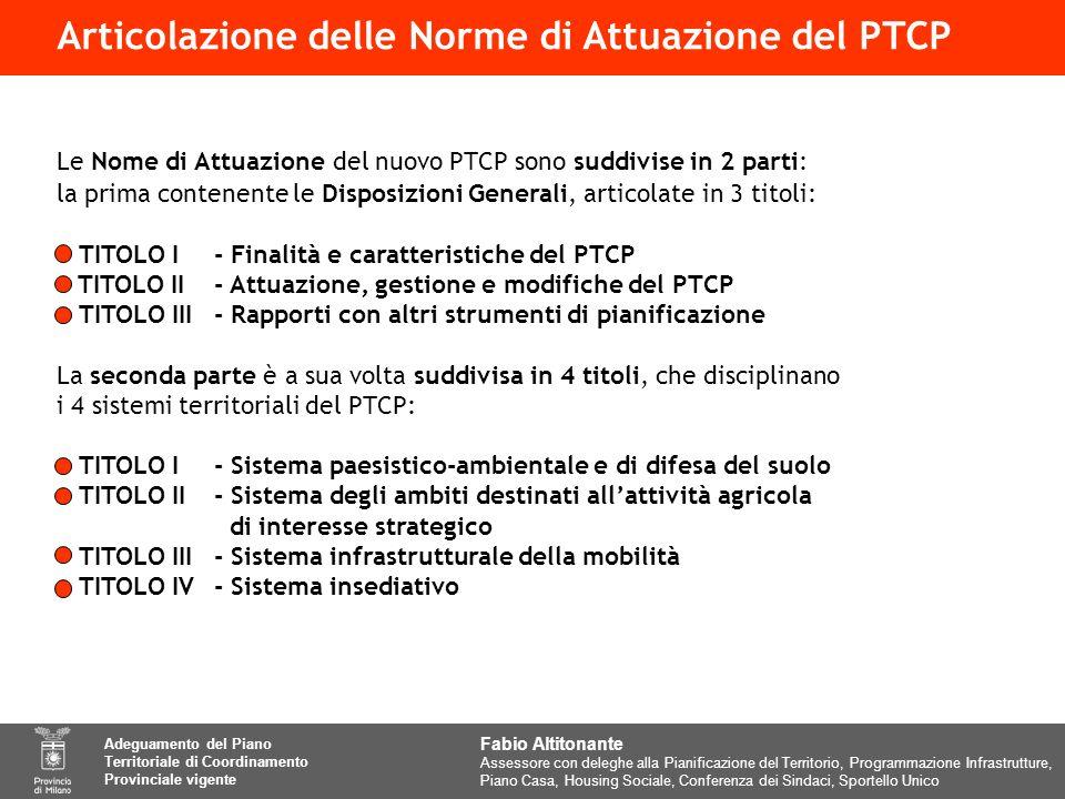 Articolazione delle Norme di Attuazione del PTCP Le Nome di Attuazione del nuovo PTCP sono suddivise in 2 parti: la prima contenente le Disposizioni Generali, articolate in 3 titoli: TITOLO I- Finalità e caratteristiche del PTCP TITOLO II- Attuazione, gestione e modifiche del PTCP TITOLO III- Rapporti con altri strumenti di pianificazione La seconda parte è a sua volta suddivisa in 4 titoli, che disciplinano i 4 sistemi territoriali del PTCP: TITOLO I- Sistema paesistico-ambientale e di difesa del suolo TITOLO II- Sistema degli ambiti destinati allattività agricola di interesse strategico TITOLO III- Sistema infrastrutturale della mobilità TITOLO IV- Sistema insediativo Fabio Altitonante Assessore con deleghe alla Pianificazione del Territorio, Programmazione Infrastrutture, Piano Casa, Housing Sociale, Conferenza dei Sindaci, Sportello Unico Adeguamento del Piano Territoriale di Coordinamento Provinciale vigente