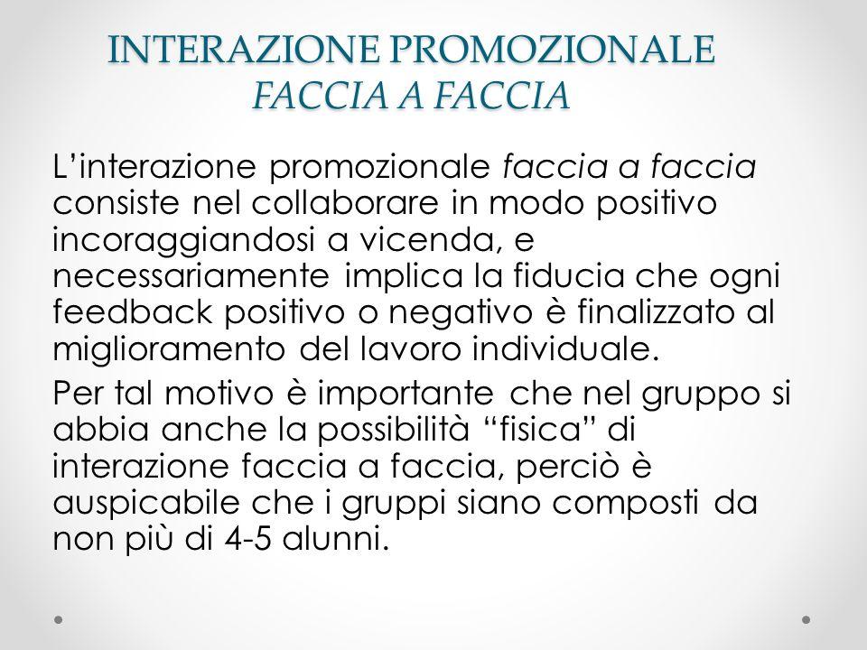 INTERAZIONE PROMOZIONALE FACCIA A FACCIA Linterazione promozionale faccia a faccia consiste nel collaborare in modo positivo incoraggiandosi a vicenda
