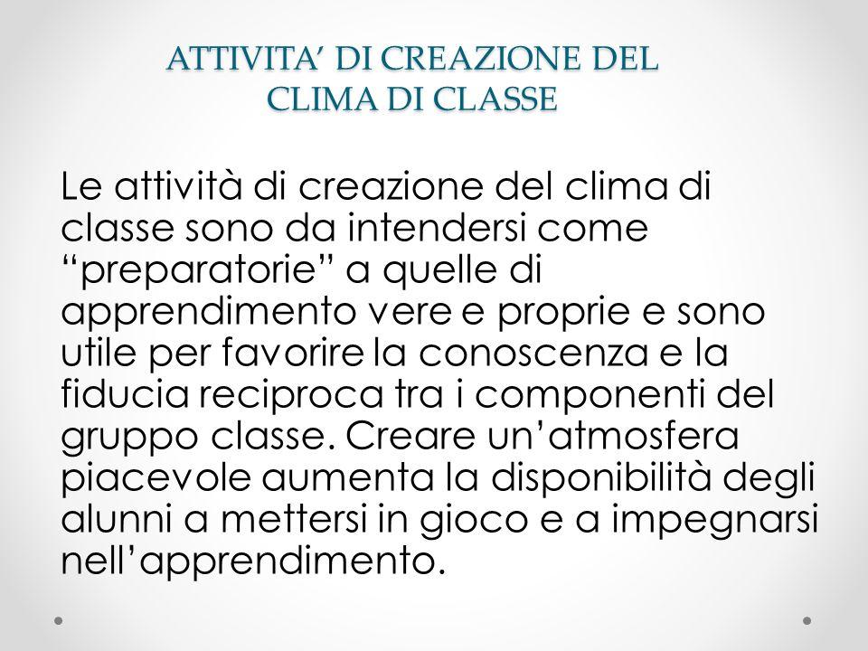 ATTIVITA DI CREAZIONE DEL CLIMA DI CLASSE Le attività di creazione del clima di classe sono da intendersi come preparatorie a quelle di apprendimento