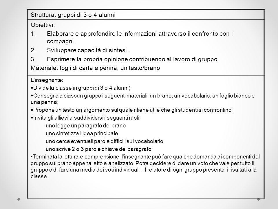 Struttura: gruppi di 3 o 4 alunni Obiettivi: 1.Elaborare e approfondire le informazioni attraverso il confronto con i compagni. 2.Sviluppare capacità