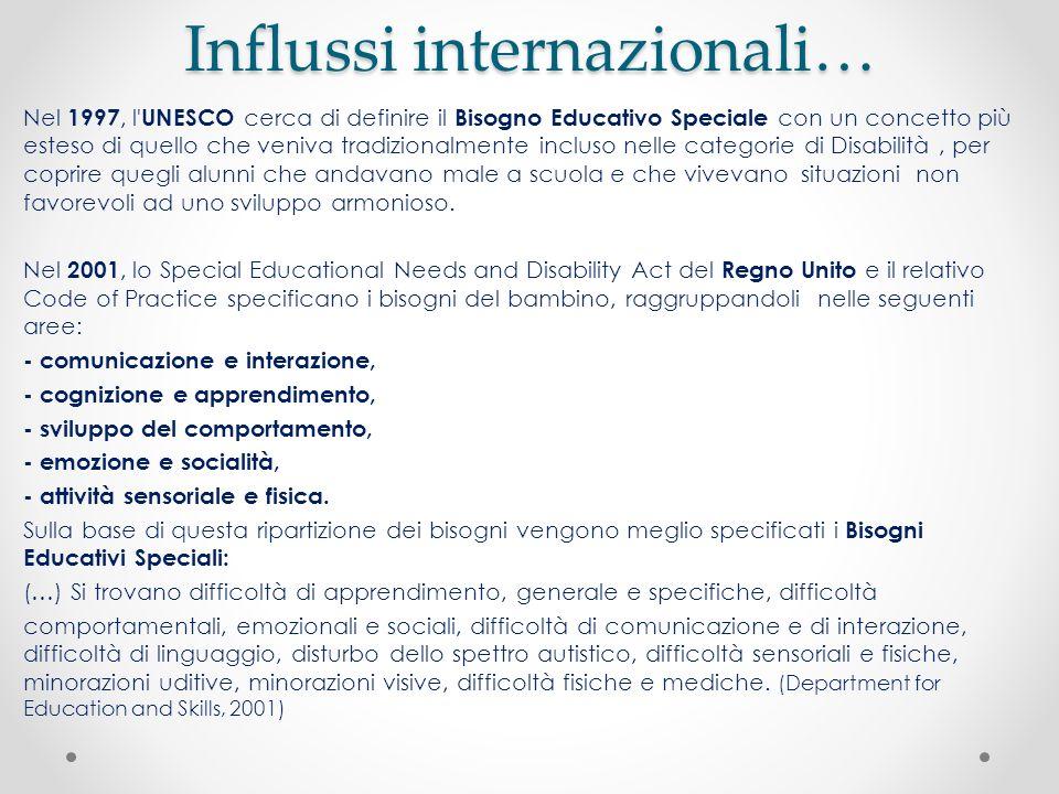 Influssi internazionali… Nel 1997, l' UNESCO cerca di definire il Bisogno Educativo Speciale con un concetto più esteso di quello che veniva tradizion