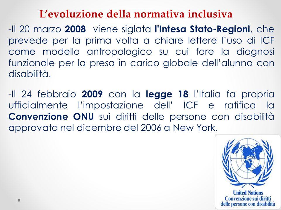 -Il 20 marzo 2008 viene siglata l'Intesa Stato-Regioni, che prevede per la prima volta a chiare lettere luso di ICF come modello antropologico su cui
