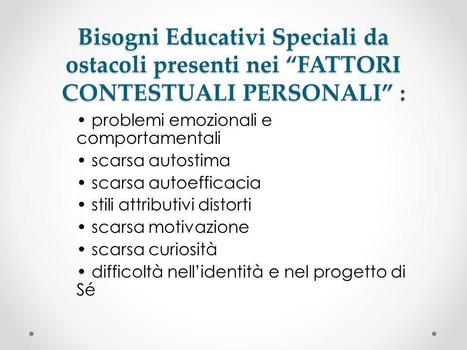 Bisogni Educativi Speciali da ostacoli presenti nei FATTORI CONTESTUALI PERSONALI : problemi emozionali e comportamentali scarsa autostima scarsa auto