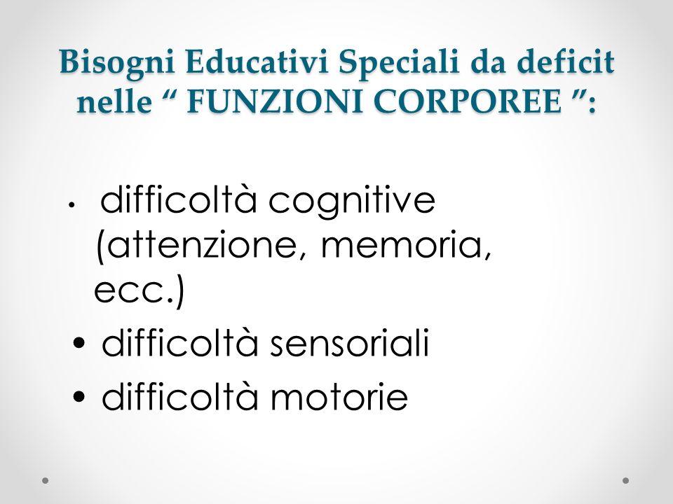 Bisogni Educativi Speciali da deficit nelle FUNZIONI CORPOREE : difficoltà cognitive (attenzione, memoria, ecc.) difficoltà sensoriali difficoltà moto