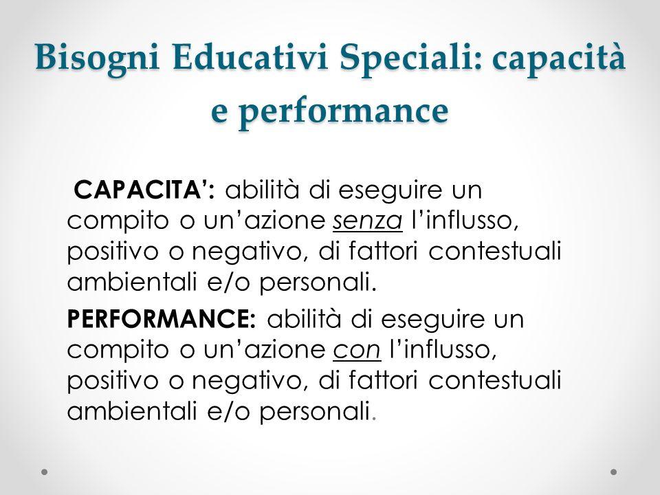 Bisogni Educativi Speciali: capacità e performance CAPACITA: abilità di eseguire un compito o unazione senza linflusso, positivo o negativo, di fattor