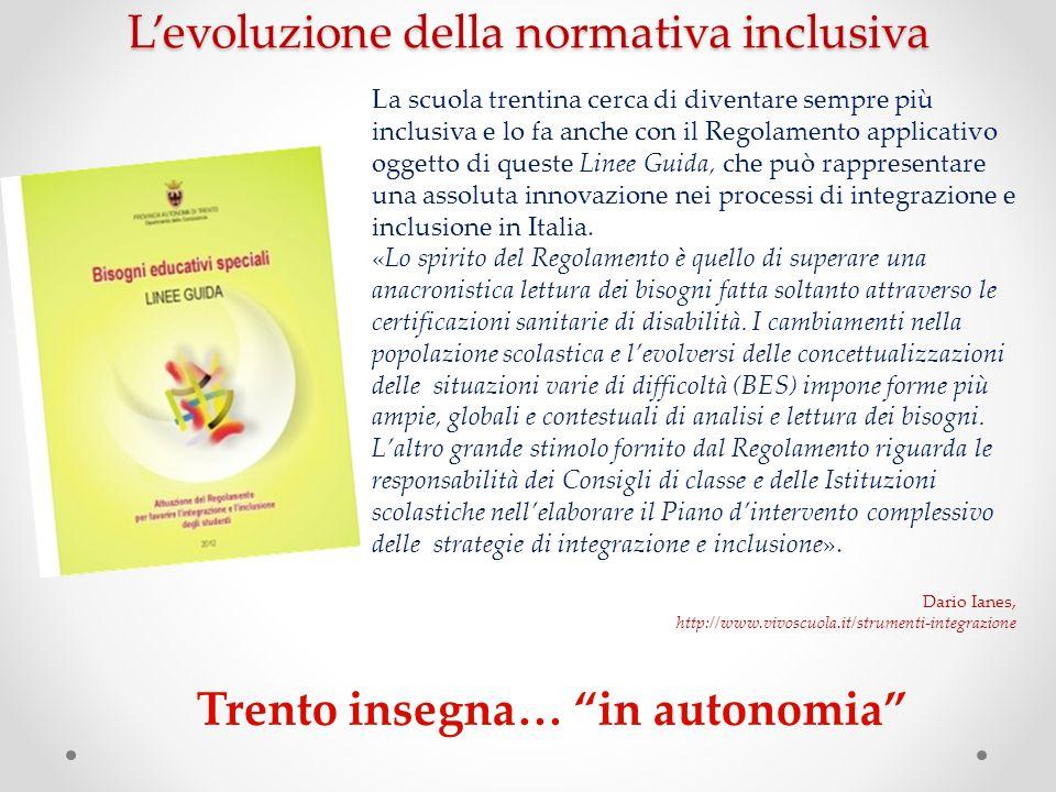 Trento insegna… in autonomia La scuola trentina cerca di diventare sempre più inclusiva e lo fa anche con il Regolamento applicativo oggetto di queste