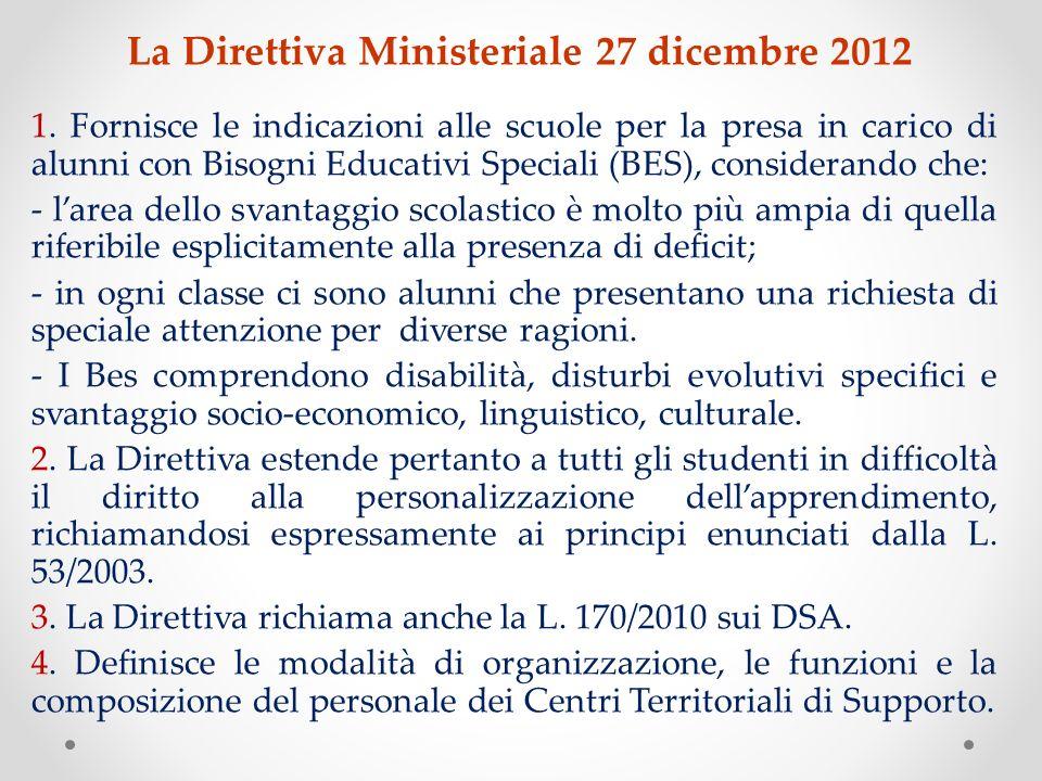 La Direttiva Ministeriale 27 dicembre 2012 1. Fornisce le indicazioni alle scuole per la presa in carico di alunni con Bisogni Educativi Speciali (BES