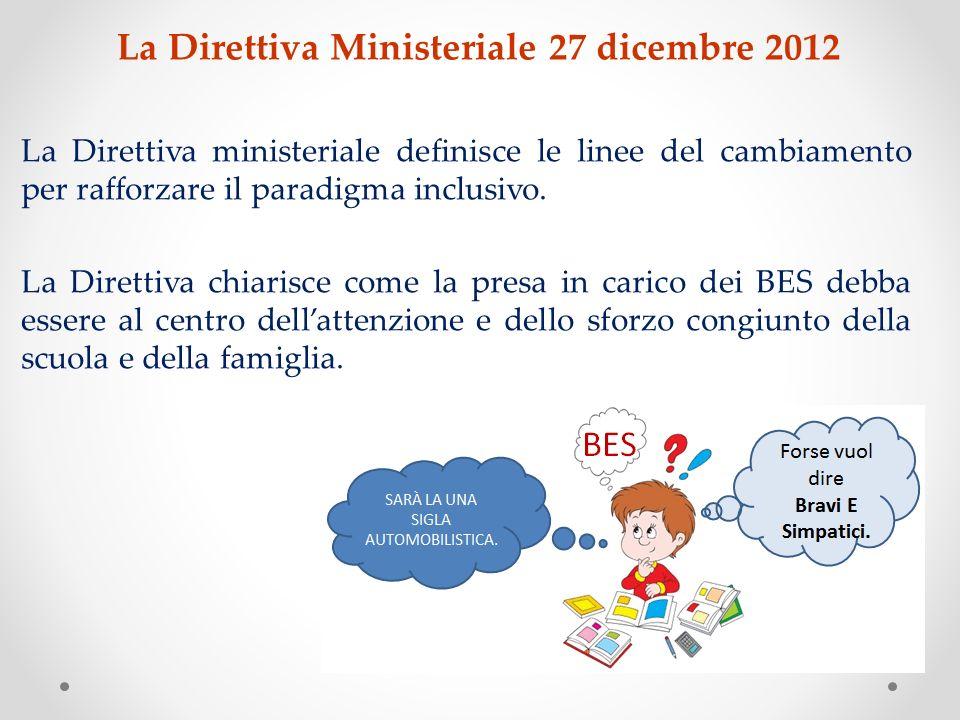 La Direttiva Ministeriale 27 dicembre 2012 La Direttiva ministeriale definisce le linee del cambiamento per rafforzare il paradigma inclusivo. La Dire
