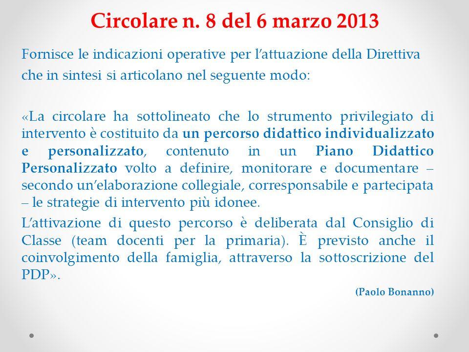 Circolare n. 8 del 6 marzo 2013 Fornisce le indicazioni operative per lattuazione della Direttiva che in sintesi si articolano nel seguente modo: «La