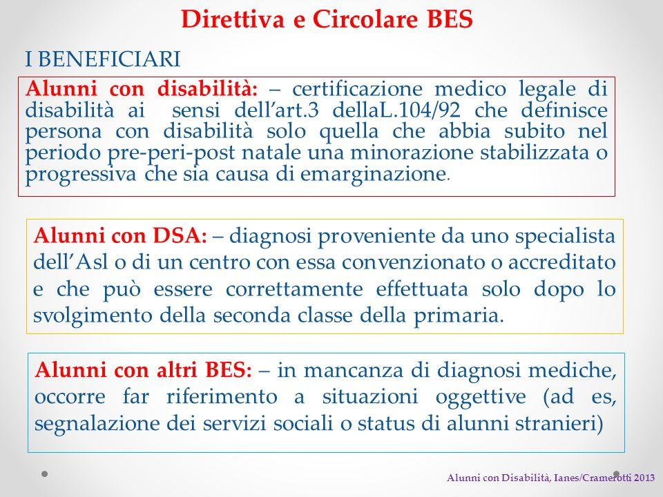 Direttiva e Circolare BES I BENEFICIARI Alunni con disabilità: – certificazione medico legale di disabilità ai sensi dellart.3 dellaL.104/92 che defin