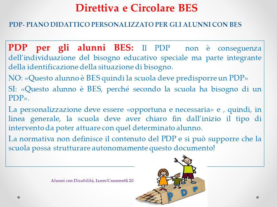 Direttiva e Circolare BES PDP- PIANO DIDATTICO PERSONALIZZATO PER GLI ALUNNI CON BES PDP per gli alunni BES: Il PDP non è conseguenza dellindividuazio