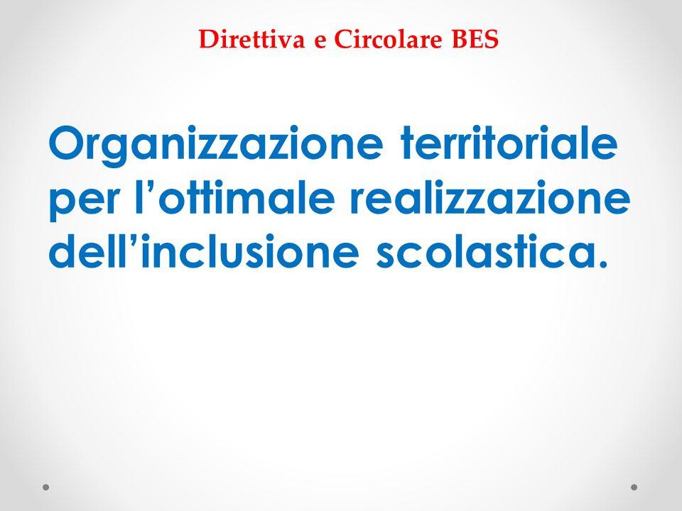 Organizzazione territoriale per lottimale realizzazione dellinclusione scolastica. Direttiva e Circolare BES