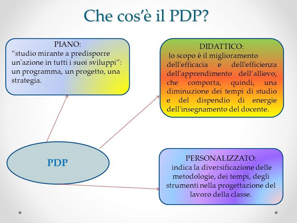 Che cosè il PDP? PDP PIANO: studio mirante a predisporre un'azione in tutti i suoi sviluppi: un programma, un progetto, una strategia. DIDATTICO: lo s
