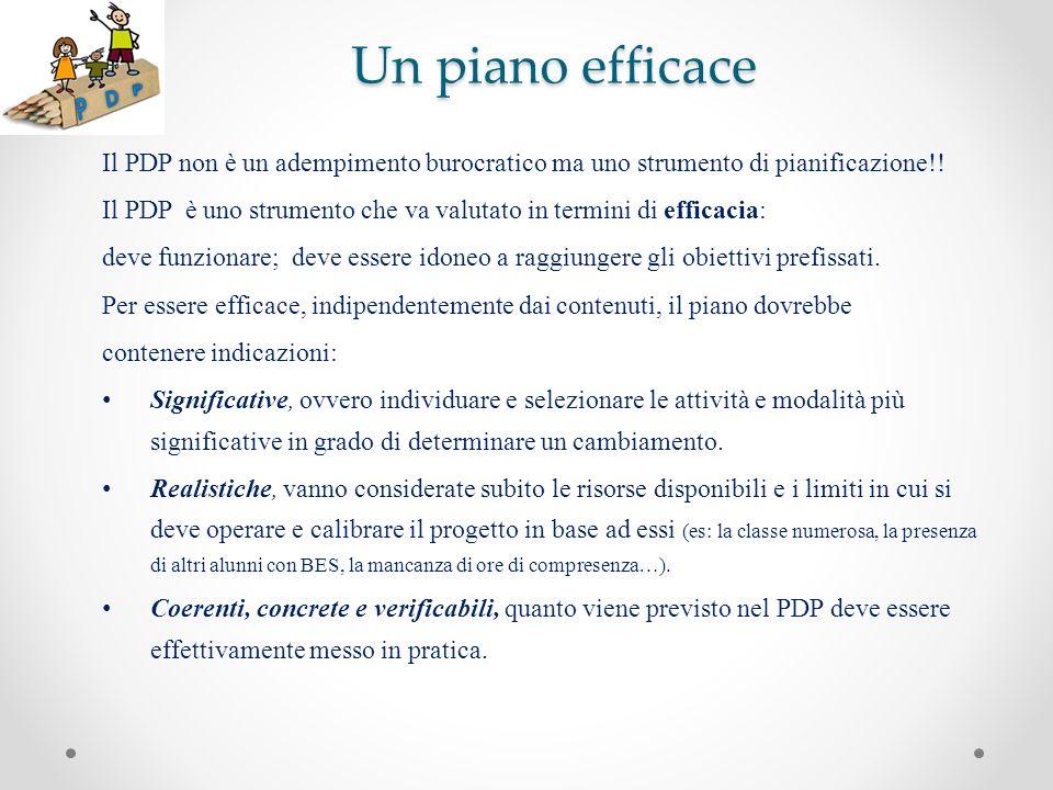 Un piano efficace Il PDP non è un adempimento burocratico ma uno strumento di pianificazione!! Il PDP è uno strumento che va valutato in termini di ef