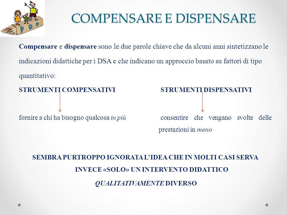 COMPENSARE E DISPENSARE Compensare e dispensare sono le due parole chiave che da alcuni anni sintetizzano le indicazioni didattiche per i DSA e che in