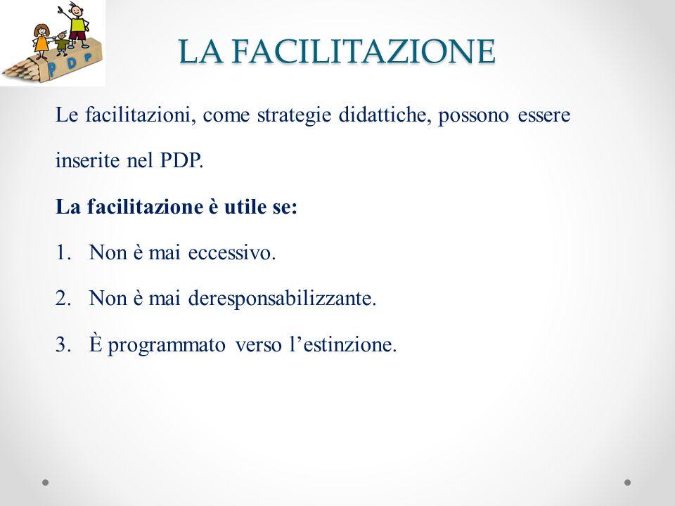 LA FACILITAZIONE Le facilitazioni, come strategie didattiche, possono essere inserite nel PDP. La facilitazione è utile se: 1.Non è mai eccessivo. 2.N