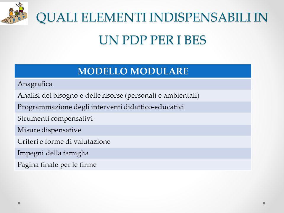 QUALI ELEMENTI INDISPENSABILI IN UN PDP PER I BES MODELLO MODULARE Anagrafica Analisi del bisogno e delle risorse (personali e ambientali) Programmazi