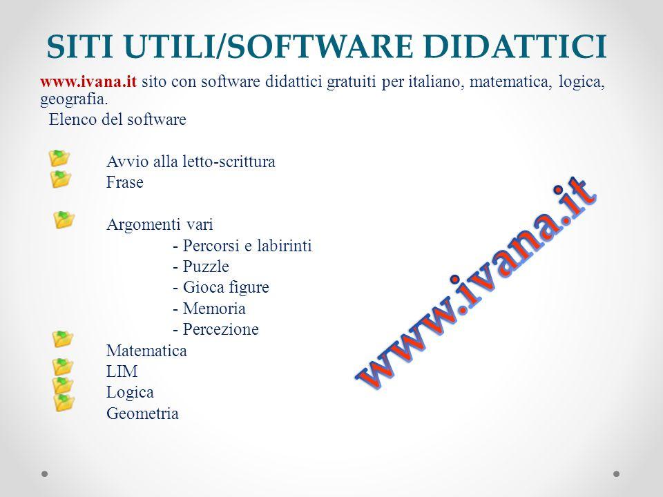 SITI UTILI/SOFTWARE DIDATTICI www.ivana.it sito con software didattici gratuiti per italiano, matematica, logica, geografia. Elenco del software Avvio