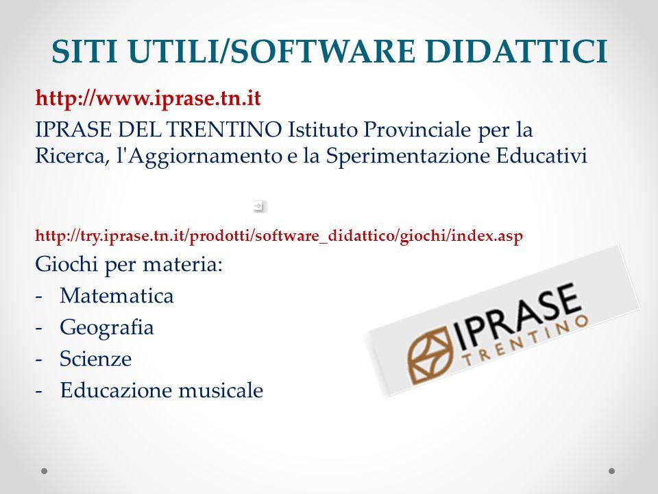 SITI UTILI/SOFTWARE DIDATTICI http://www.iprase.tn.it IPRASE DEL TRENTINO Istituto Provinciale per la Ricerca, l'Aggiornamento e la Sperimentazione Ed