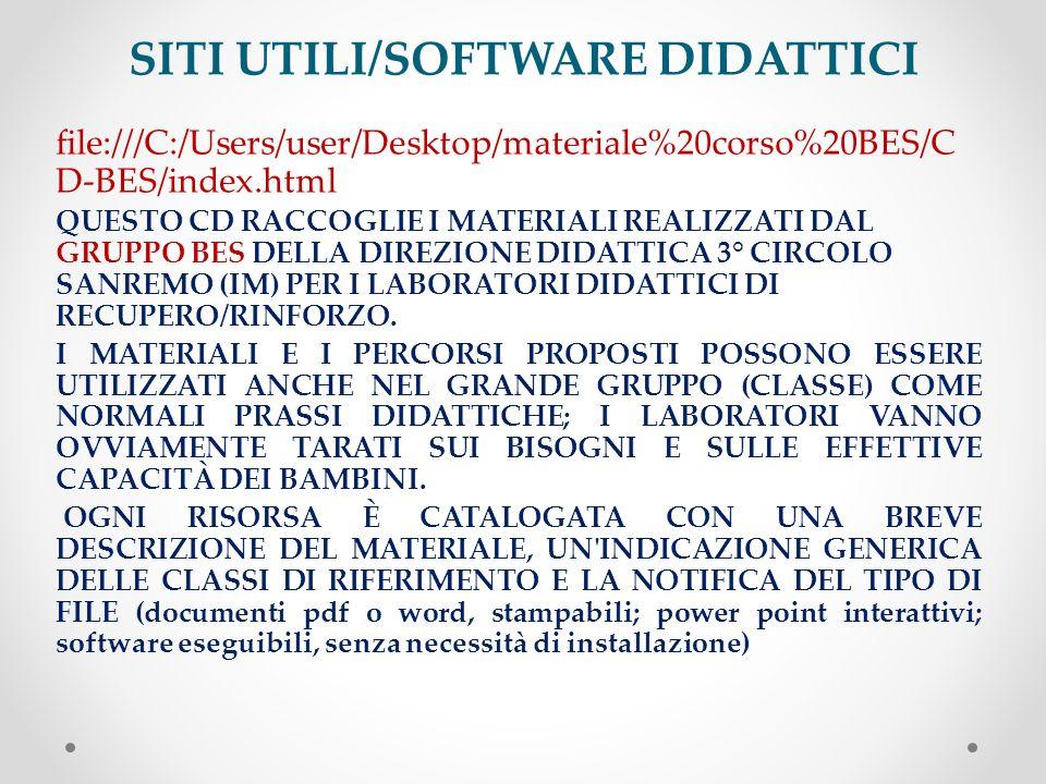 SITI UTILI/SOFTWARE DIDATTICI file:///C:/Users/user/Desktop/materiale%20corso%20BES/C D-BES/index.html QUESTO CD RACCOGLIE I MATERIALI REALIZZATI DAL