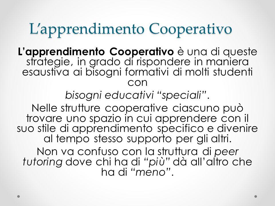 Lapprendimento Cooperativo Lapprendimento Cooperativo è una di queste strategie, in grado di rispondere in maniera esaustiva ai bisogni formativi di m