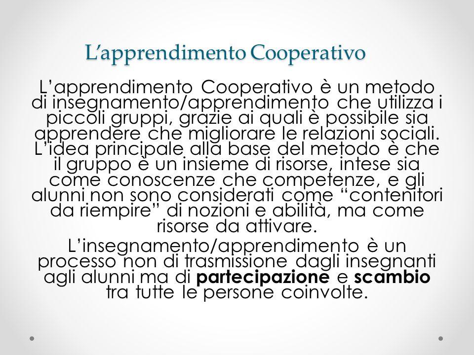 Lapprendimento Cooperativo Lapprendimento Cooperativo è un metodo di insegnamento/apprendimento che utilizza i piccoli gruppi, grazie ai quali è possi