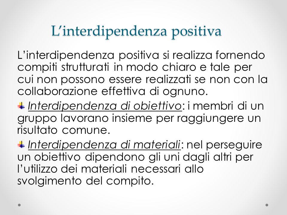 Linterdipendenza positiva Linterdipendenza positiva si realizza fornendo compiti strutturati in modo chiaro e tale per cui non possono essere realizza