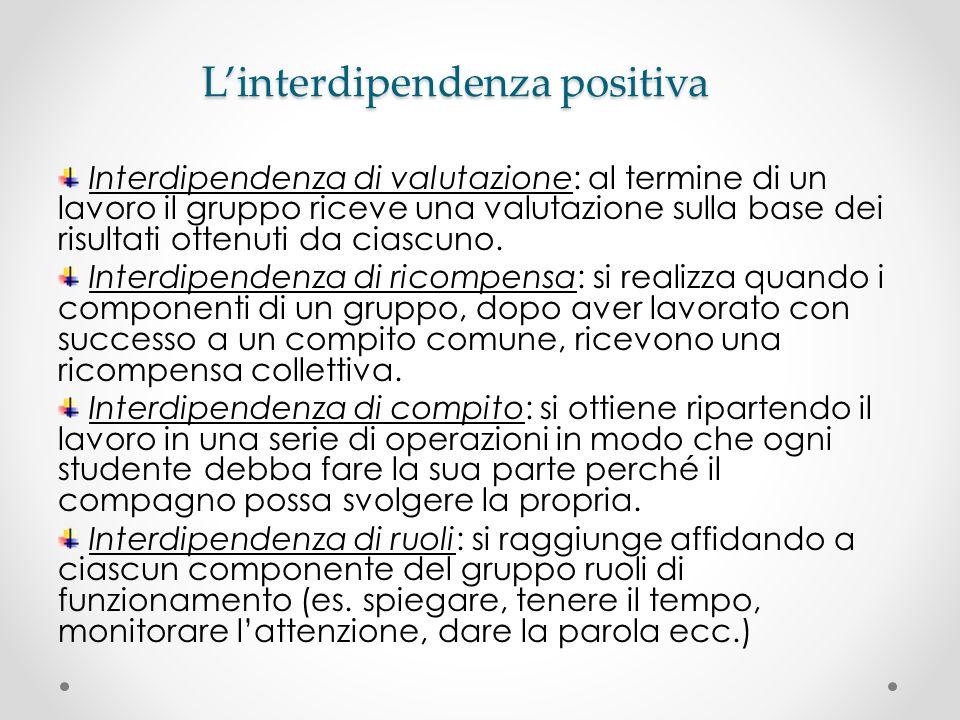 Linterdipendenza positiva Interdipendenza di valutazione: al termine di un lavoro il gruppo riceve una valutazione sulla base dei risultati ottenuti d
