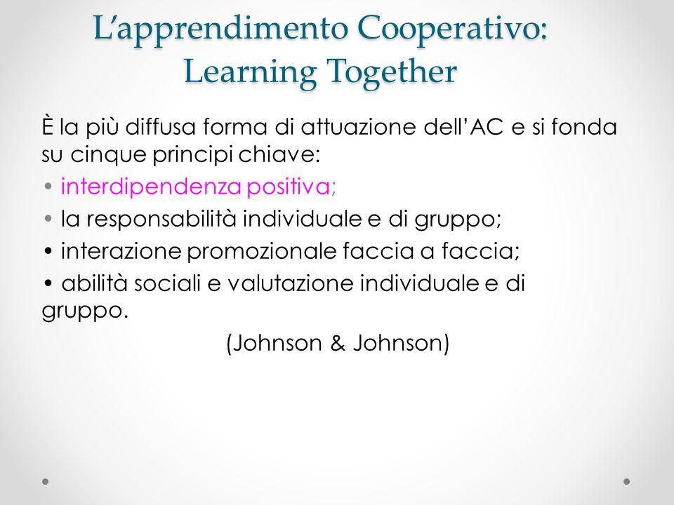 Lapprendimento Cooperativo: Learning Together È la più diffusa forma di attuazione dellAC e si fonda su cinque principi chiave: interdipendenza positi