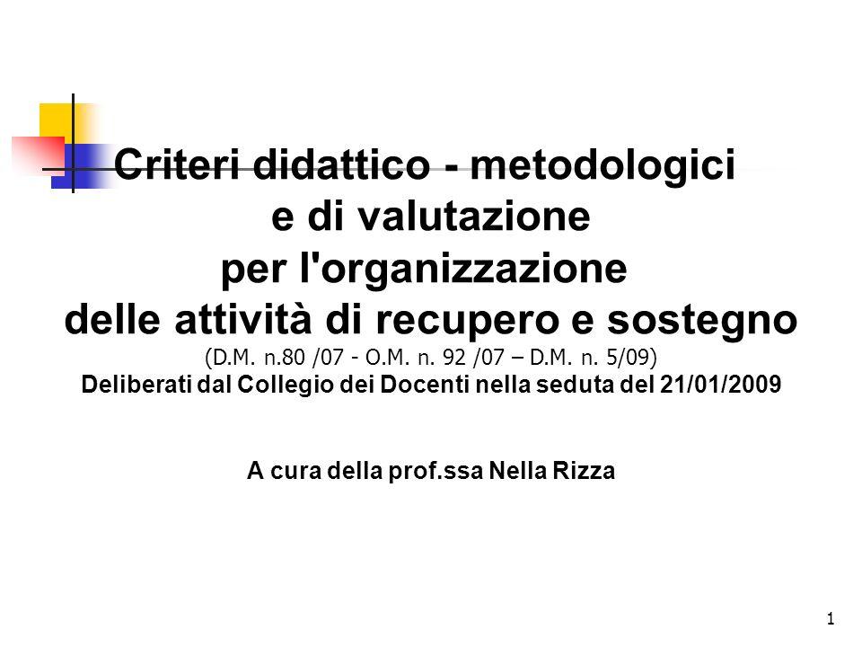 1 Criteri didattico - metodologici e di valutazione per l'organizzazione delle attività di recupero e sostegno (D.M. n.80 /07 - O.M. n. 92 /07 – D.M.