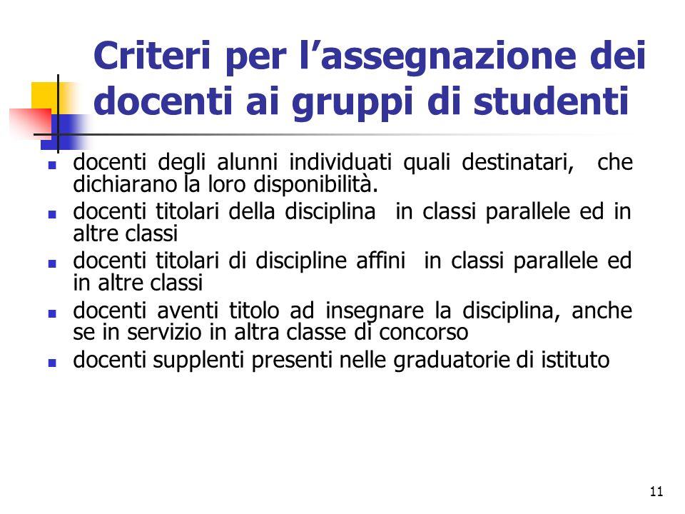 11 Criteri per lassegnazione dei docenti ai gruppi di studenti docenti degli alunni individuati quali destinatari, che dichiarano la loro disponibilit