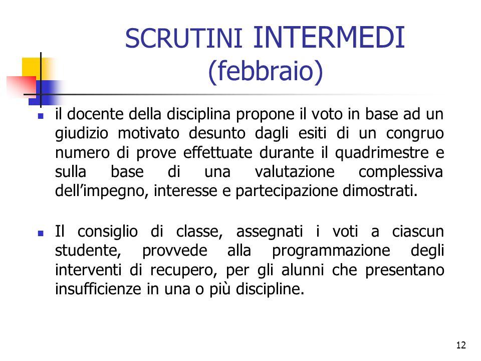 12 SCRUTINI INTERMEDI (febbraio) il docente della disciplina propone il voto in base ad un giudizio motivato desunto dagli esiti di un congruo numero