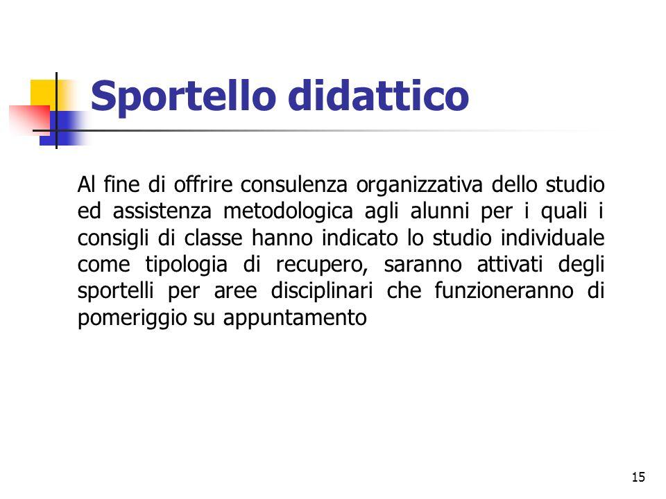 15 Sportello didattico Al fine di offrire consulenza organizzativa dello studio ed assistenza metodologica agli alunni per i quali i consigli di class