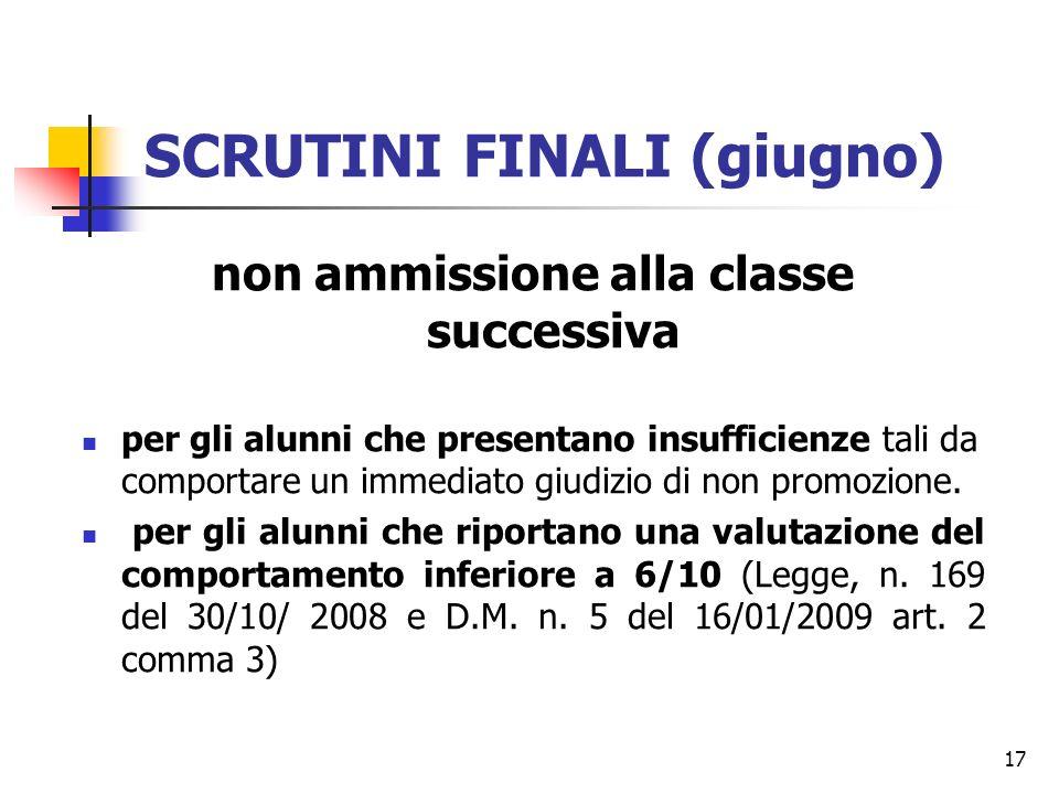 17 SCRUTINI FINALI (giugno) non ammissione alla classe successiva per gli alunni che presentano insufficienze tali da comportare un immediato giudizio