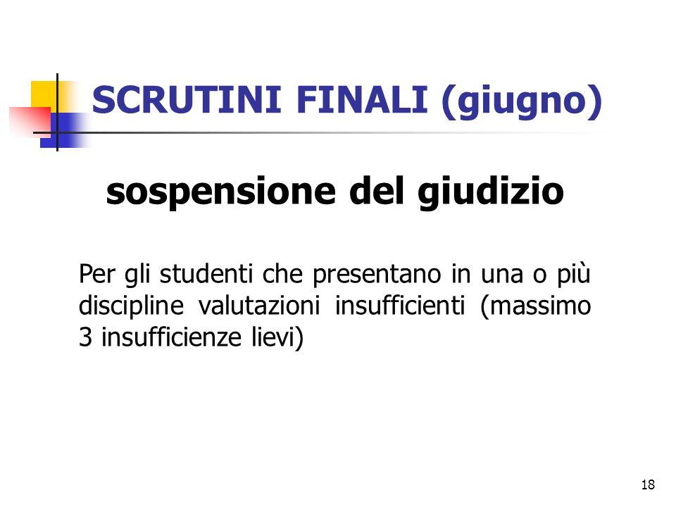 18 SCRUTINI FINALI (giugno) sospensione del giudizio Per gli studenti che presentano in una o più discipline valutazioni insufficienti (massimo 3 insu