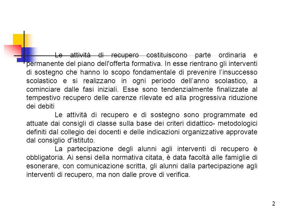 2 Le attività di recupero costituiscono parte ordinaria e permanente del piano dell'offerta formativa. In esse rientrano gli interventi di sostegno ch