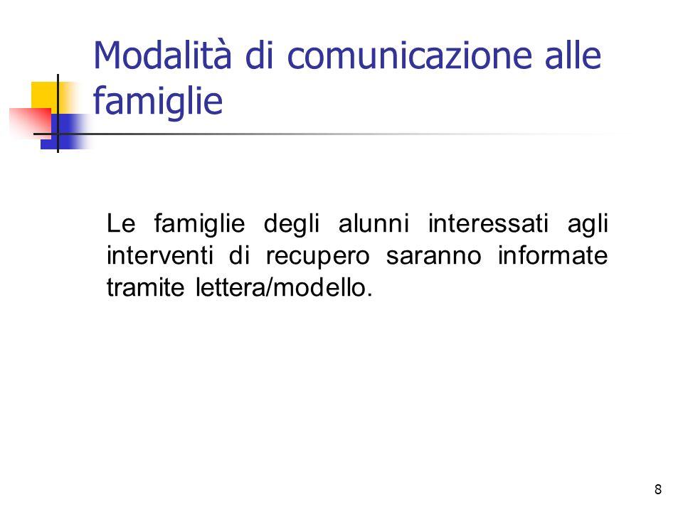 8 Modalità di comunicazione alle famiglie Le famiglie degli alunni interessati agli interventi di recupero saranno informate tramite lettera/modello.