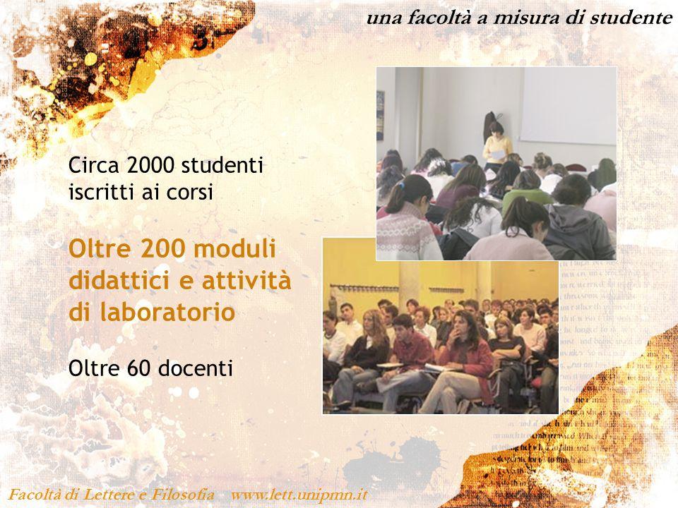 una facoltà a misura di studente Facoltà di Lettere e Filosofia www.lett.unipmn.it Circa 2000 studenti iscritti ai corsi Oltre 200 moduli didattici e