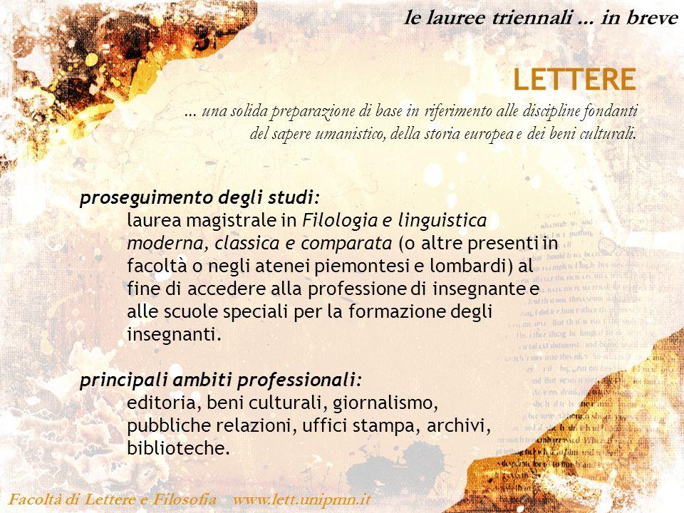 ... e tante altre attività! Facoltà di Lettere e Filosofia www.lett.unipmn.it TEATRO...!